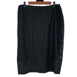 Lane Bryant Black Crochet Knit Overlay Skirt